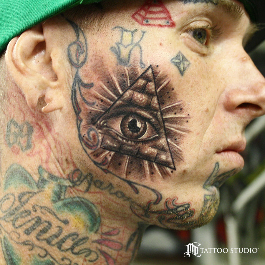 Illuminati Eye Pyramid Face Tattoo