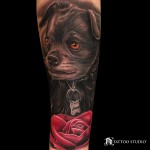 Puppy and Rose Tattoo